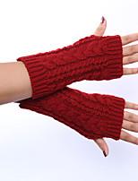 Women's Winter Wool Knitting Hemp Decorative Pattern Solid Color Gloves