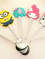 I203 Cute Cartoon Silicone Stainless Steel Spoon Coffee Spoon Stirring Spoon Children Spoon