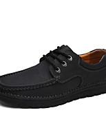Черный Коричневый Хаки-Мужской-Повседневный-Кожа-На плоской подошве-Удобная обувь-Туфли на шнуровке