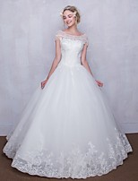 Ball Gown Wedding Dress Floor-length Scoop Tulle with Beading / Lace