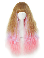 Sell Like Hot Cakes Neat Bang Gradients Long Curly Hair Wig Female Temperament