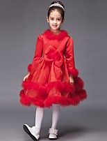 Ball Gown Knee-length Flower Girl Dress - Satin Long Sleeve Jewel with Bow(s)