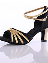 Для женщин Латина Шёлк На каблуках Кроссовки Концертная обувь Каблуки на заказ Черный Пурпурный Красный Персонализируемая