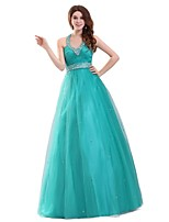 Formal Evening Dress A-line Halter Floor-length Tulle with Beading / Sash / Ribbon / Pleat