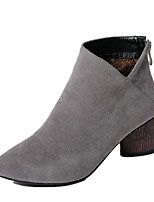 Women's Boots Fall / Winter Motorcycle Boots / Round Toe Dress Chunky Heel Zipper Black / Brown / Gray / Beige Others