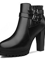 Women's Boots Spring/Fall/Winter Fashion Boots Synthetic Office & Career / Casual Chunky Heel Black/Red Snow Boots