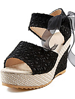 Women's Heels Summer / Fall Platform / PU Casual Wedge Heel Sequin / Ribbon Tie / Others / Lace-up Black / Beige