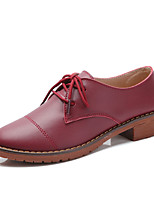 Women's Oxfords Spring / Fall Comfort PU Casual Flat Heel  Black / Brown / Red / White Sneaker