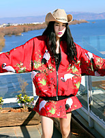 Whisper Wheat Women's Going out /Chinoiserie Spring SetEmbroidered Stand Long Sleeve Red Polyester Medium