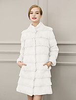Women's Casual/Daily / Formal Simple / Street chic Fur Coat Solid Stand Long Sleeve Winter White / Black Faux Fur Thick