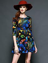 Trapèze Robe Femme Sortie Sophistiqué,Imprimé Col Arrondi Mini Manches ¾ Bleu Nylon Automne Taille Haute Non Elastique Moyen