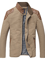 Men's Long Sleeve Casual / Work JacketCotton Solid Green / Red / Yellow