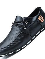 Черный Белый Черный и белый-Мужской-Повседневный-Дерматин-На плоской подошве-Удобная обувь-Туфли на шнуровке