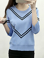 Women's Casual/Daily Simple / Cute Regular PulloverStriped Round Neck  Sleeve Polyester Fall / Winter Medium