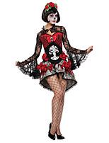 Costumes de Cosplay / Costume de Soirée Vampire Fête / Célébration Déguisement Halloween Rouge / Noir Couleur Pleine Robe / Coiffure