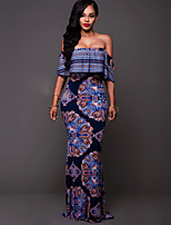 Women's Party/Cocktail Sexy / Vintage Falbala Bodycon DressPrint Boat Neck Maxi Short Sleeve Backless Mid Rise