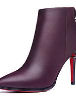 Черный Фиолетовый-Женский-Для офиса Для вечеринки / ужина-Синтетика-На шпильке-Модная обувь-Ботинки