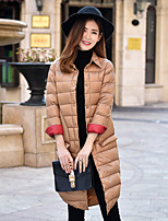 Women's Solid Pink / Red / Black / Brown / Green Down CoatSexy Shirt Collar Long Sleeve