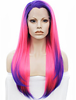 IMSTYLE 16 Pink-Blue Ombre Synthetic Lace Front Wigs with Blue Root
