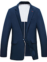 Suits Standard Fit Notch Single Breasted One-button Polyester Solid 1 Piece Navy Blue Straight Flapped