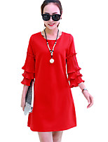 Women's Plus Size / Going out / Party/Cocktail Street chic Loose DressSolid Round Neck Above Knee  SleevePink / Red