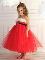 Crystal Red Sleeveless Flower Girl Dresses Pageant Dresses Halloween dress Vestidos