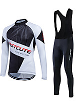 Fastcute® Cycling Jersey with Bib Tights Men's Long Sleeve BikeBreathable / 3D Pad / Back Pocket / Sweat-wicking / Comfortable /