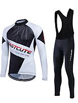 Fastcute® Maillot et Cuissard Long à Bretelles de Cyclisme Homme Manches longues VéloRespirable / Matériaux Légers / La peau 3 densités /