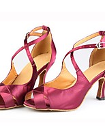 Customizable Women's Ballroom Latin Dance Shoes Satin Salsa Sandals / Heels Customized Heel Indoor / Performance Pink