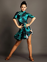 Latin Dance Dresses Women's Performance Spandex Buttons / Draped 1 Piece Leopard Print Half Sleeve