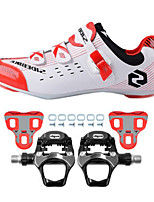 SD003 Cycling Shoes Road Bike Sneakers Damping / Cushioning Red/White-sidebike And WeigeR251 Rock Pedals