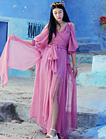 Whisper Wheat Women's Going out /Cute A Line DressSolid V Neck Maxi  Sleeve Pink Silk / Cotton Summer High Rise