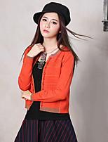 Для женщин На выход Большие размеры Винтаж Обычный Пуловер Однотонный,Оранжевый Круглый вырез Длинный рукав Хлопок Искусственный шёлк