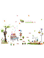 Wall Stickers Wall Decals Style Music Garden Bird Flower Pot Bench Cartoon PVC Wall Stickers