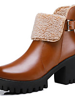 Women's Boots Spring/Fall/Winter Combat Boots Synthetic Office & Career/ Casual Chunky Heel Black/Brown Snow Boots