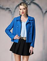 Damen Solide Einfach Ausgehen Jacke,Winter Steigendes Revers Langarm Blau / Weiß Mittel Wolle / Polyester