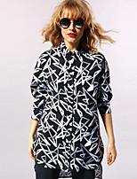 NEW BEFORE  Women's Casual/Daily Simple Spring ShirtGeometric Shirt Collar Sleeve Black