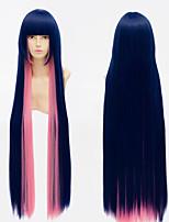 100cm l'anime panty&empoissonnement avec garterbelt stockage anarchie perruque cosplay bleu rose mix longue ligne droite perruque de