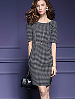 Women's Going out / Party/Cocktail Sexy / Simple Sheath Dress,Polka Dot Round Neck Above Knee ½ Length Sleeve