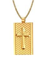 Gold Medal Cross  Christian Faith The King 18K Gold Necklace Men