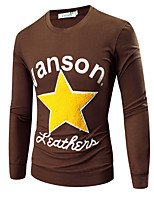 Men's Leisure Long-sleeved Round Neck Pentagram Embroidery Flocking Letters Printed  T-shirt