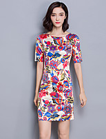 Women's Casual/Daily Simple Loose DressPrint Round Neck Above Knee  Length Sleeve Multi-color Cotton Fall Mid Rise