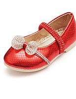 Girl's Flats Spring / Summer / Fall Flats Leatherette Outdoor / Dress Flat Heel Bowknot / Slip-on Red / Gold Walking