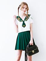 Linjou Women's Going out Cute Summer Set SkirtPatchwork V Neck Short Sleeve Green Polyester Medium