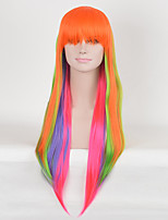 Fashion Afro Orange Multi-color Straight Women Cosplay Synthetic Wigs