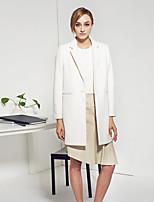 с + произвести впечатление на работу простой coatsolid женщин достиг пика отворот с длинным рукавом зимой белый шерсть / полиэстер среда