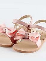 Girl's Sandals Summer Sandals / Open Toe Leather Casual Flat Heel Bowknot Black / Pink / Fuchsia Others