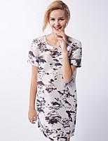 новый, прежде чем женщин вскользь / ежедневно Chinoiserie свободно dressprint вокруг шеи выше колена с коротким рукавом
