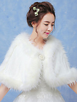 Women's Wrap Capelets Sleeveless Faux Fur White Wedding / Party/Evening Scoop 42cm Feathers / fur Hidden Clasp
