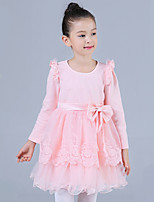 Girl's Casual/Daily Solid DressCotton / Polyester Winter / Fall Pink / Purple